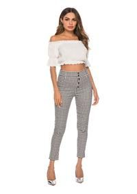High Waist Plaid Pants Lady Summer Office Work Trousers