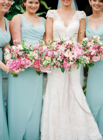 Gorgeous, garden bouquets: http://www.stylemepretty.com/2014/12/11/intimate-castle-wedding-in-northern-ireland/ | Photography: Peaches & Mint - http://www.peachesandmint.com/