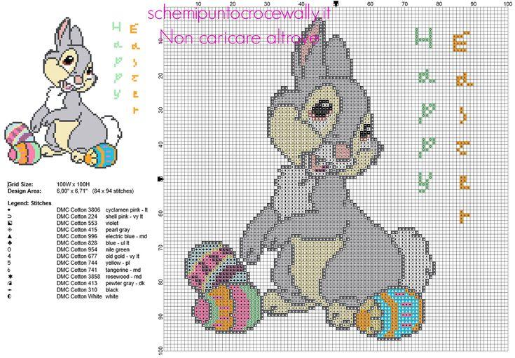 Disney Tamburino personaggio Bambi con uova di Pasqua schema punto croce 84 x 94 crocette 14 colori DMC