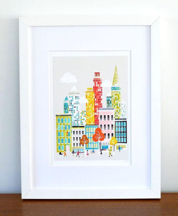New York : City Art Print / Cityscape Art Print / New York Poster / New York original illustration of mine that has been digitally colored.