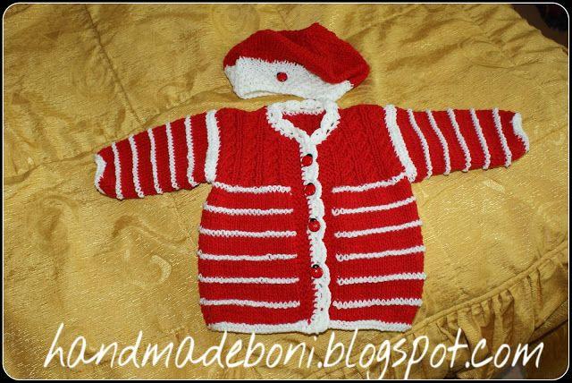 HandmadeBoni: Czerwono-biały sweterek z biedronkami. Czapka bask...