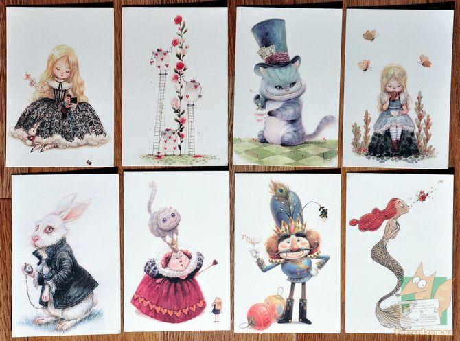 Алиса в стране чудес открытка, красивые