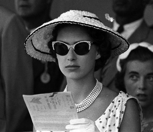 Princess Margaret Wears Cat-Eye Sunglasses At The Races. Photo From 1955