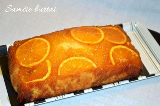 Labai skanus ir nesunkiai pagaminamas pyragas. Reikės: 120 ml medaus, 2 apelsinų, 170 g sviesto, 240 ml cukraus, 2 kiaušinių, 360 ml miltų, 1 šaukštelio kepimo miltelių, trupučio druskos, 80 ml pie...
