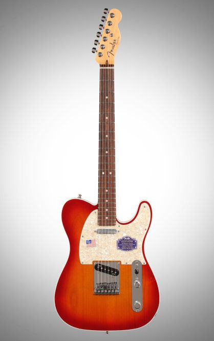 Fender American Deluxe Telecaster Electric Guitar: The Fender American Deluxe Telecaster offers classic Tele tone with a twist, thanks to N3 Noiseless pickups and a compound-radius rosewood fretboard.