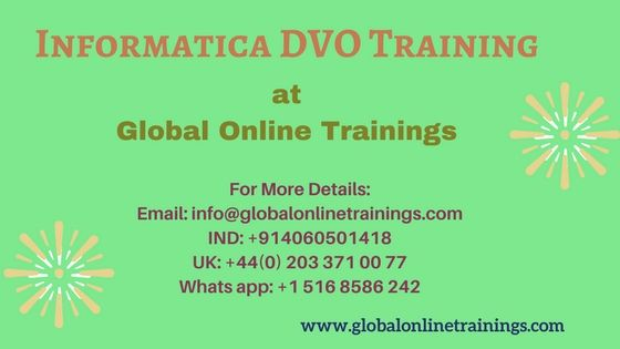 Informatica DVO Training enables developers to create rules to test the data.Best Data Validation Option Online,corporate Course from India by SME trainers