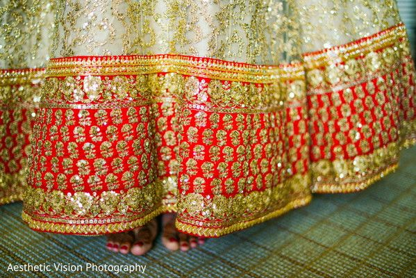 Exquisite red and gold bridal lengha. http://www.maharaniweddings.com/gallery/photo/106866