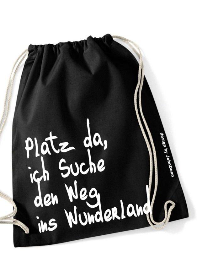 "Turnbeutel ""Wunderland"", Jutebeutel / tote bag, ""wonderland"", hipster look by NoNameNeedle via DaWanda.com"