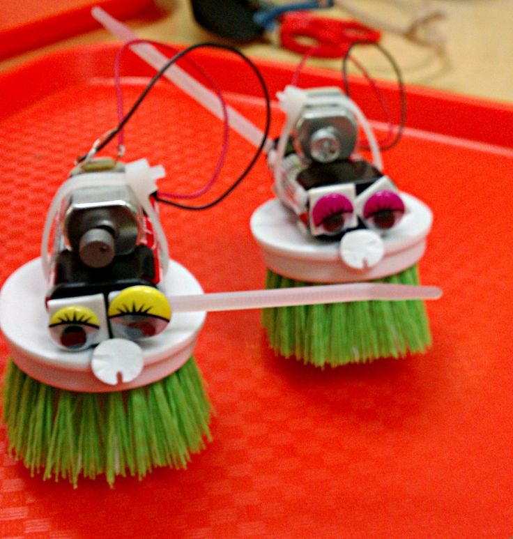 Make a Brush robot with a toothbrush motor, battery pack and a dishwashing scrubber.