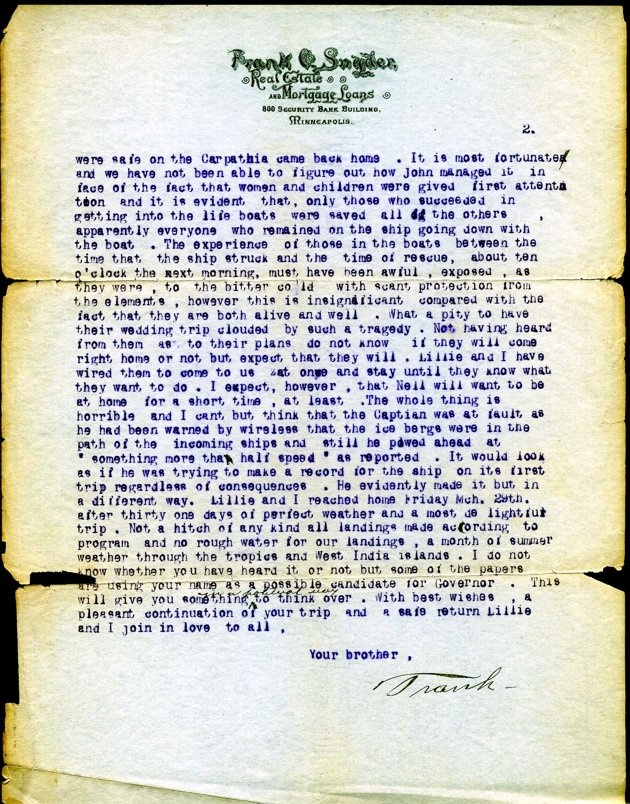 Letter from Frank Snyder to his brother Fred about John & Nellie Snyder, who were survivors of the Titanic. Dated April 18, 1912 Page 2of 2