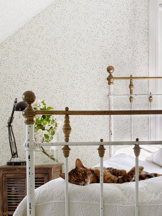 Beautiful cat reclining on a Victorian bed in this restful bedroom