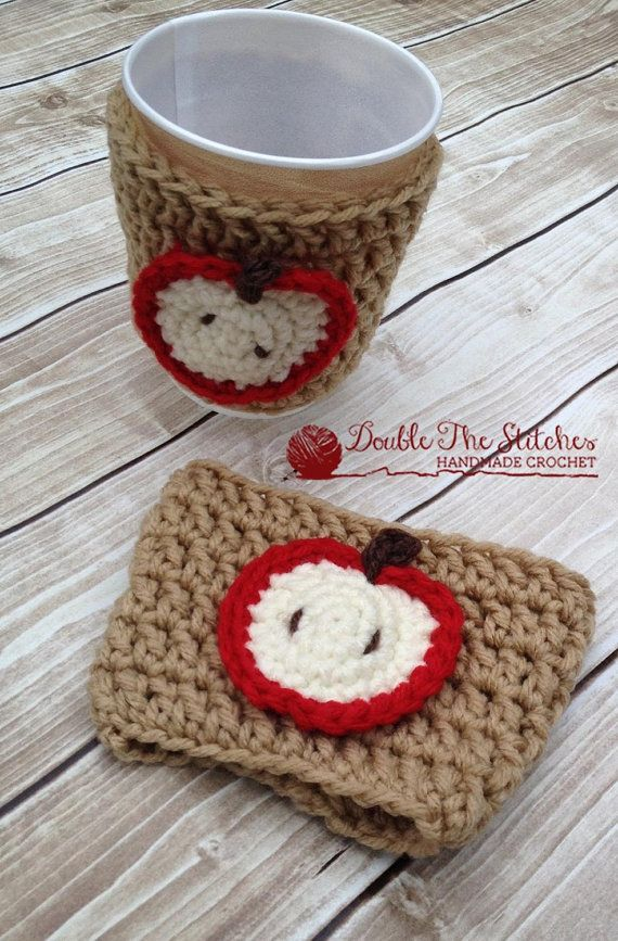 Apple Coffee Cup Cozy - Teacher Appreciation Gift - $12.00  Wear your heart on your (coffee cup) sleeve with a custom made crochet Coffee Cup Cozy! Includes your choice of colors for both the cozy and the heart applique. Fits standard size to-go cups.  This is a great useful gift for any Teachers in your life. Perfect for End of Year Teacher Gifts and Teacher Appreciation Gifts.  Colors are shown are marbled brown and classic red.  The cozy is reusable and made from soft 100% acrylic yarn.