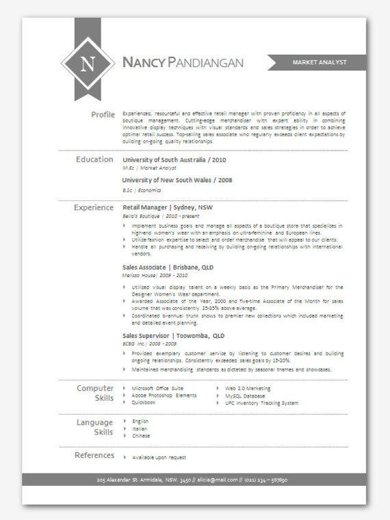 modern microsoft word resume template nancy by inkpower on etsy just cute pinterest