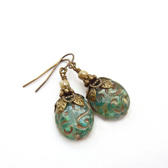 Moss Green Earrings  Etched Picasso Glass by RockStoneTreasures