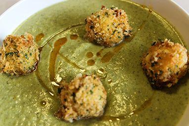 Broccoli & Spinach Soup w/ Goat Cheese Tempura Balls - Thermador