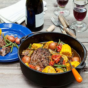 Dutch Oven–Braised Beef and Summer Vegetables. After a day of hiking or