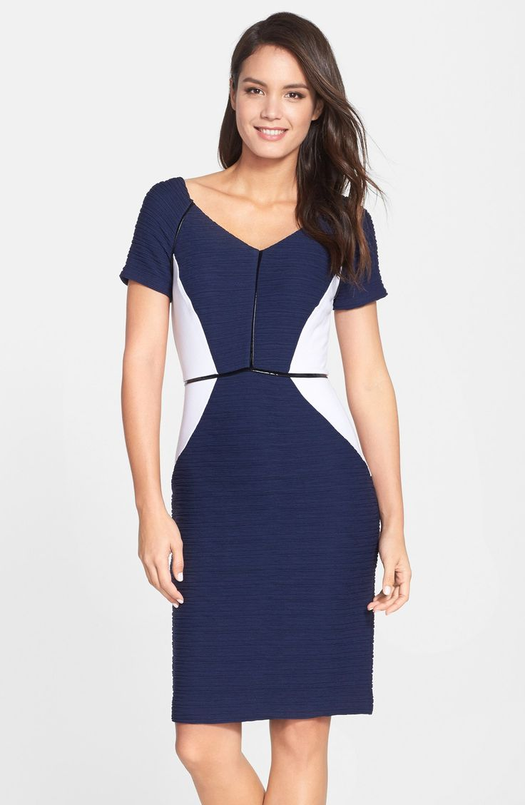 Nue by Shani Colorblock Ottoman Knit Sheath Dress
