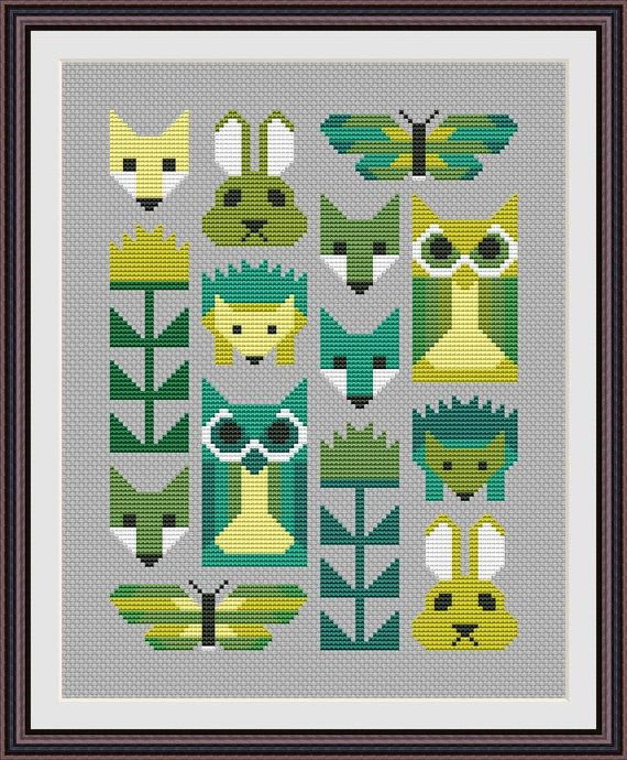 Animal Geometric Modern Cross stitch pattern PDF Instant Download, Fox, Owl, Hedgehog, Flower, Butterfly cross stitch