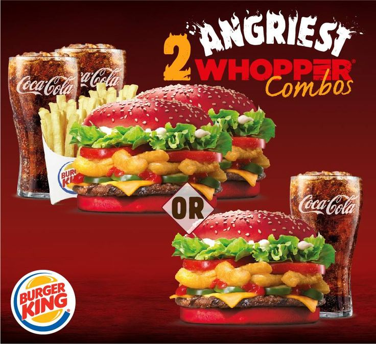 Get our Angriest Whopper 2 ways. Enjoy it with a friend - 2 Angriest Whopper combos for $75  Or enjoy it all by yourself - 1 Angriest Whopper Sandwich with a small drink for only $35. Choose yours now for a limited time!