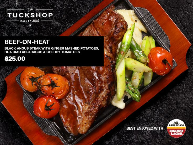 Beef-On-Heat  Black Angus Steak with Ginger Mashed Potatoes, Hua Diao Asparagus & Cherry Tomatoes