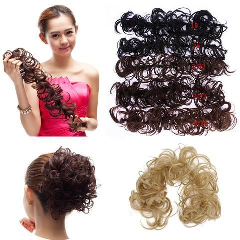 1PC Hair Buns Scrunchy Bun Hair Piece Updo Bride Bun Natural Hairpiece Wavy…