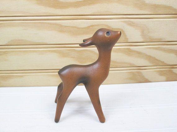 Vintage Fauve herten beeldje bruin keramische door vintagegoodness