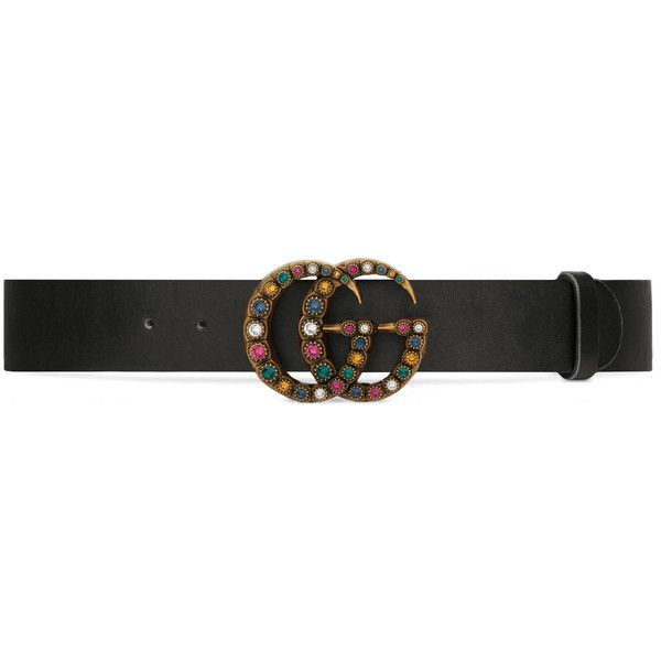 Gucci Leather Belt With Crystal Double G Buckle ($515) ❤ liked on Polyvore featuring accessories, belts, women, leather belt, gucci, leather buckle belt, multi color belt and buckle belt