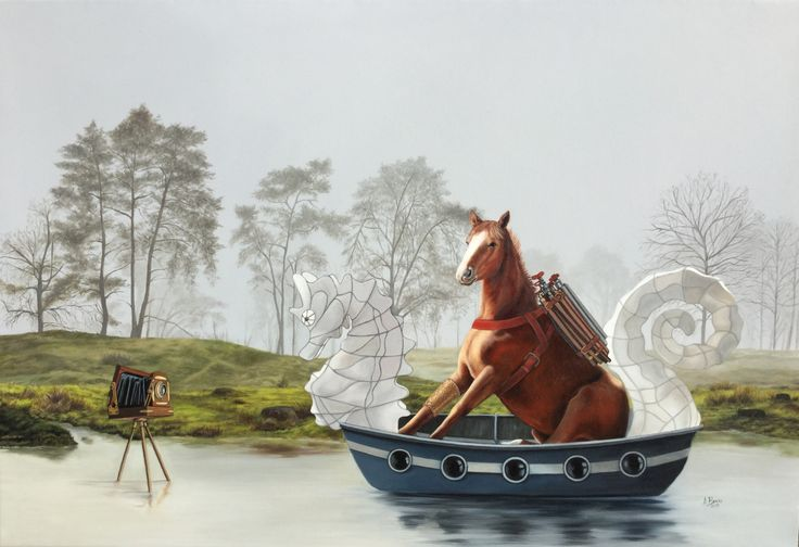 Angela Banks 2015 'Henrietta, a proud and heroic beast, is taken by the river to a place she knows least. Oil on canvas, 73 x 108 cm