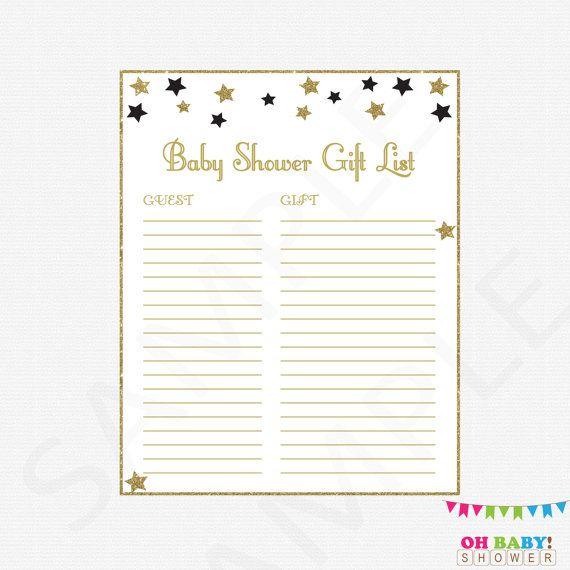 Twinkle Twinkle Little Star Baby Shower Gift List by OhBabyShower