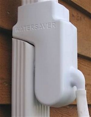 Watersaver Diverter mounted on downspout pipe - for rain barrels. www.rainbarrelman.com