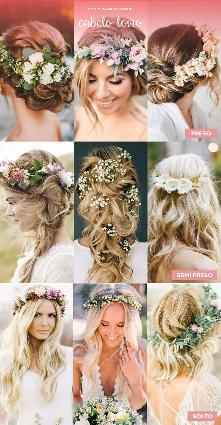 Cabelos com arranjos de flores naturais. – OMG I'm Engaged #WeddingHairFlowers