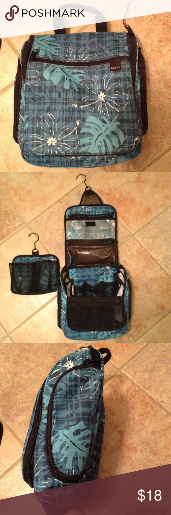 💙💚💙 L.L. Bean Personal Organizer 💙💚💙 Hinged design and built in hook allows you to hang it anywhere. Many zip and mesh pockets provide ample storage in this most popular medium sized organizer. Pretty teal leaf & flower pattern is no longer offered.  No mirror.  In good used condition. L.L. Bean Bags Cosmetic Bags & Cases
