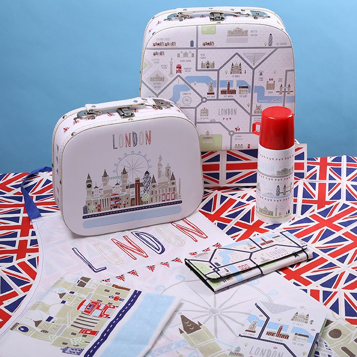London Icons Map Design featured on Rounded Cases, Vacuum Flask, Apron, Tea Towel and Purse #LondonIcons #LondonMap #London #giftware #giftideas