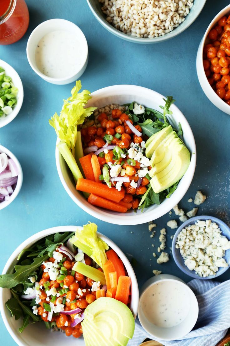 These super easy to make Roasted Buffalo Chickpea Bowls are a healthy pulse food dinner or lunch that'll help you stick to your new year's resolutions.