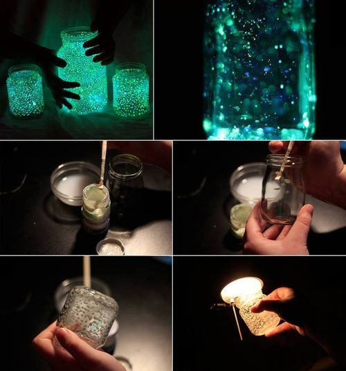 Firefly jars! Fleck the inside of glass jars with glow-in-the-dark paint and make sure to charge them with some light! on imgfave