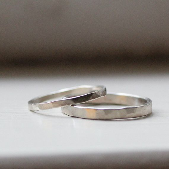 Primitive Hammered White Gold Wedding Ring Set by tinahdee