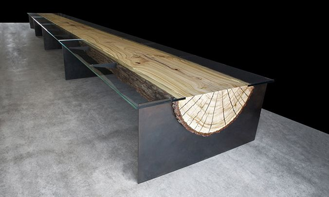 """ENGINEERED COMMUNAL LOG TABLE WITH 3/4"""" GLASS SIDE PANELS AND BLACKENED STEEL FIN BASE"""