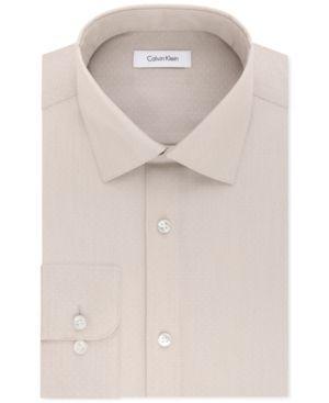 Calvin Klein Men's Steel Classic/Regular Fit Non-Iron Performance Linen Solid Dress Shirt - Tan/Beige 1