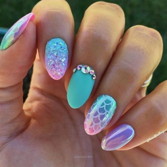 Mermaid Nails Pink Turquoise And Purple Gradients With Unicorn Chrome Powder Swarovski