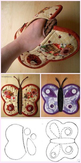 Gesteppter Schmetterlings-Topflappen nähen frei Muster & bezahlt