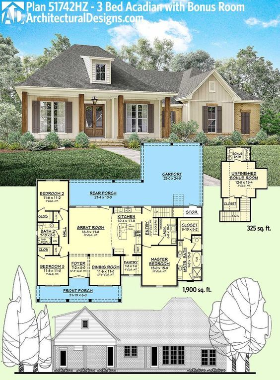 nice Architectural Designs Acadian House Plan 51742HZ gives you 1,900 square feet on ... by http://www.best99-home-decor-pics.club/home-decor-ideas/architectural-designs-acadian-house-plan-51742hz-gives-you-1900-square-feet-on/