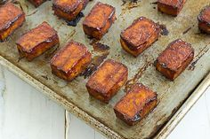 Baked Barbecue Tofu - how to make tofu-not-gross tips included.Verdict } combined with microwave/freezing suggestions the most 'meat-like' tofu I've ever had. BBQ recipe makes 'em extra crispy too.