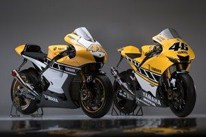 Valentino Rossi's 60th anniversary Yamaha YZR-M1, along side his 50th anniversary weapon, not a lot of difference considering a decade of development.