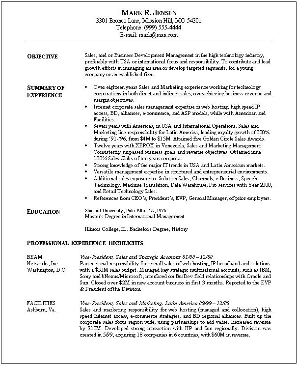 Job Resume Templates Examples: Sales Marketing Resume Sample