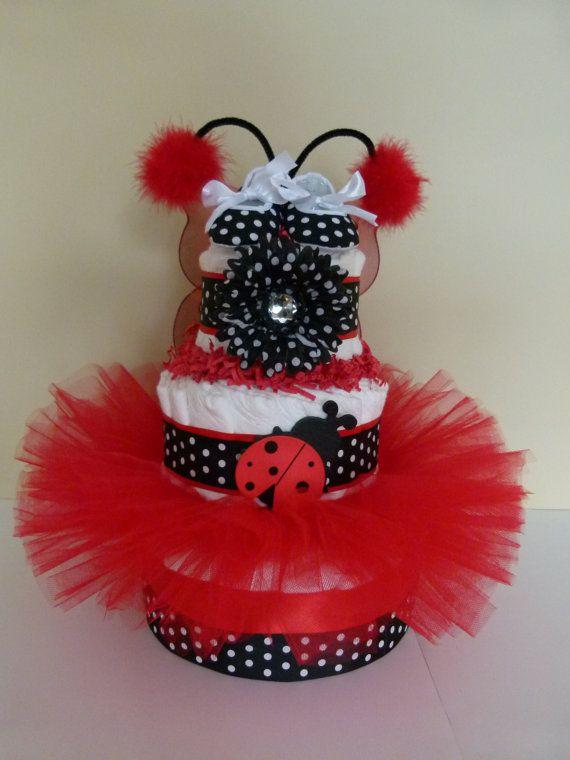 Ladybug Tutu Baby Diaper Cake by mamabijou on Etsy, $80.00