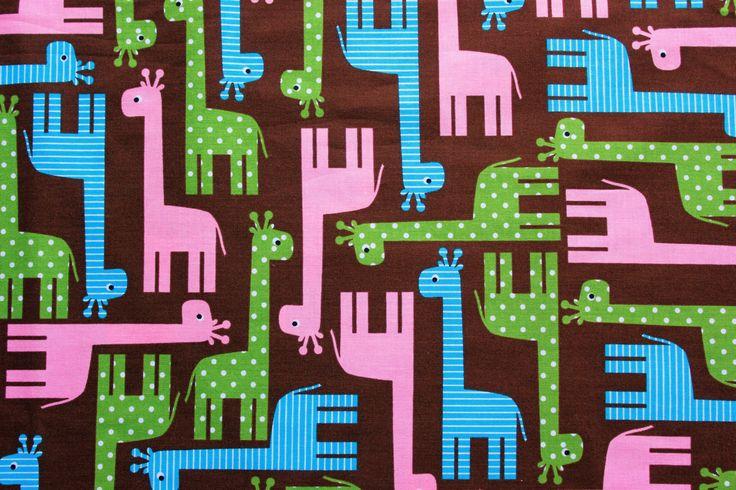 Robert Kaufman Fabrics, Cotton Fabric, Girrafe Fabric, Ann Kelle, Urban Zoologie, Girrafes Garden, Brown, Half Metre by TCRFabricStore on Etsy