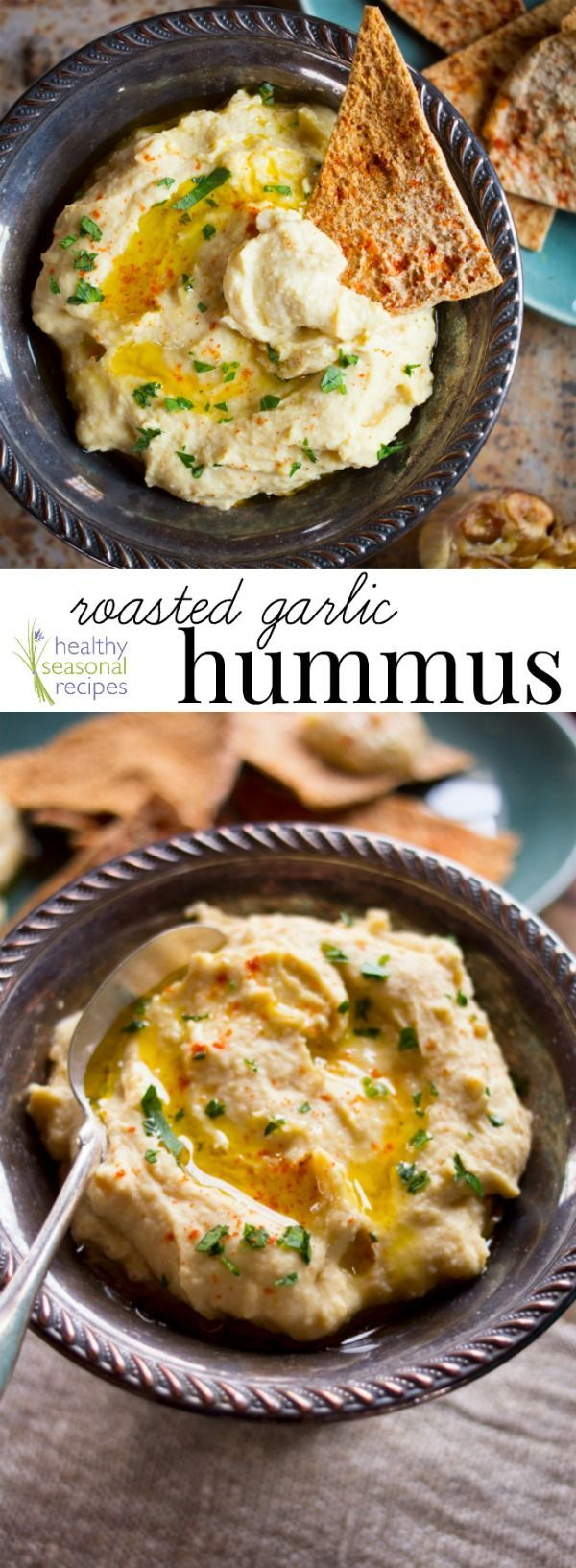 Roasted Garlic Hummus, one of the top recipes on healthyseasonalrecipes.com for more than 3 years running. Naturally vegan and gluten-free. Healthy Seasonal Recipes.