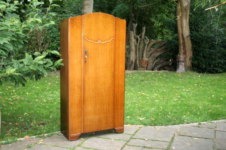 SLIM VINTAGE LEBUS OAK WOOD SINGLE DOOR WARDROBE WITH WORKING LOCK & KEY in Home, Furniture & DIY, Furniture, Wardrobes | eBay