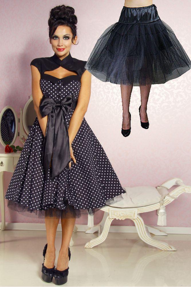 - schöner dreilagiger Tüll-Petticoat-Rock  - tolles Volumen - breiter Hüft-Bund aus Satin - seitliche Bindung - eingearbeiteter Unterrock - perfekt für Rockabilly-Kleider,...