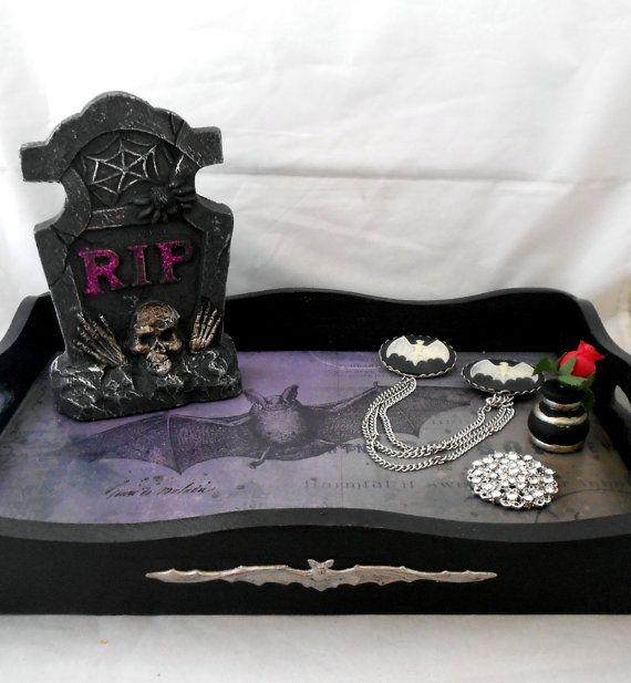 Gothic vanity tray  with bat theme.